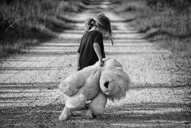 Child Boy Female Walking Teddy Bear Happy Walk