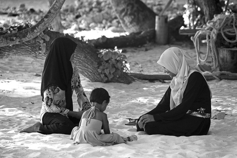 Child Family Maldives Peaceful People Sitting